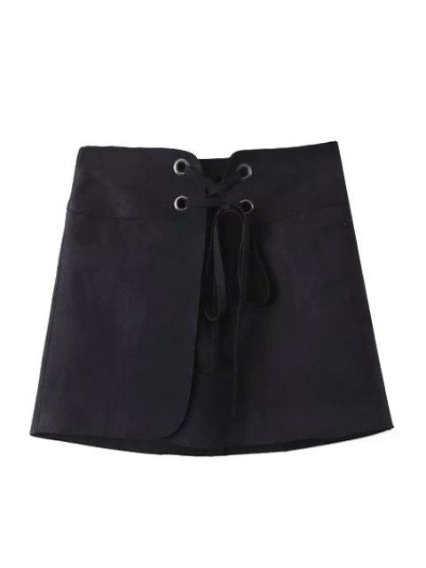 womens Lace-Up A Line Suede Skirt - BLACK L Mobile