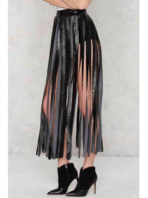 womens Skirting With Fate Fringe Skirt - BLACK S Mobile
