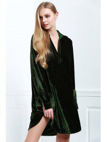 Loose Velvet Shirt Dress - Army Green L
