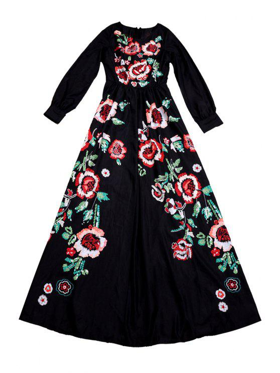 buy Floral Print Round Collar Long Sleeve Maxi Dress - BLACK S