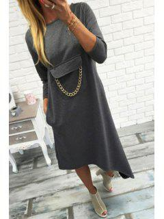 Irregular Hem 3/4 Sleeve Pocket Embellished Dress - Gray M