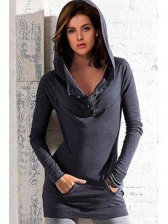 Solid Color Hooded Long Sleeve One Pocket Hoodie - Deep Gray L
