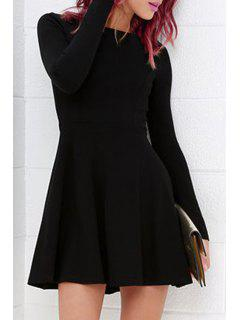 Solid Color Round Collar Long Sleeve A Line Dress - Black M