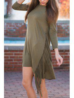 Tassels Spliced Round Collar 3/4 Sleeve Solid Color Dress - Army Green Xl