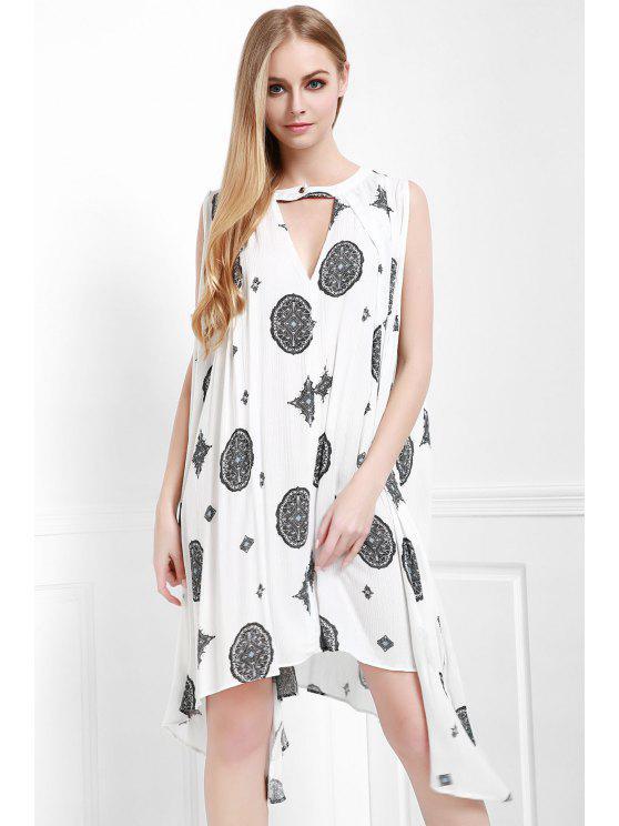 A ligne robe sans manches imprimé à motifs - Blanc Cassé M