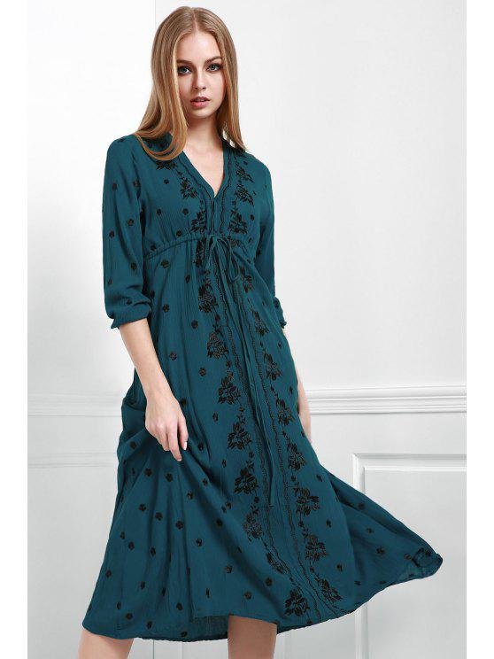 women's Embroidered Empire Waist Boho Dress - PEACOCK BLUE L
