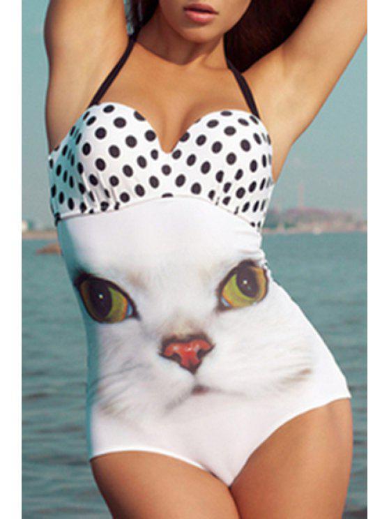 Kitten Polka Dot One-Piece Maillots de bain - Blanc XL