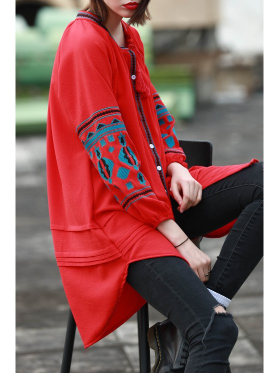 Ethnic bordado V Neck Vestido Manga Longa - Vermelho M