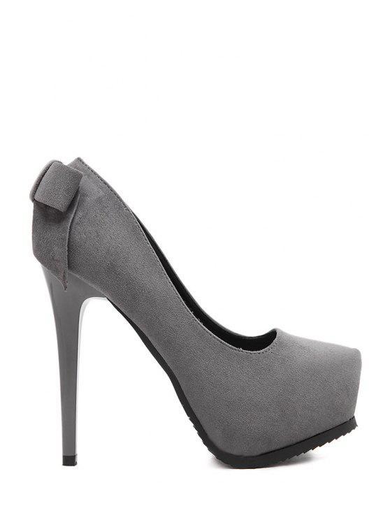 fashion Platform Bow Suede Pumps - GRAY 37