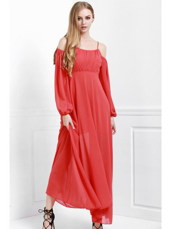 unique Spaghetti Strap Backless Ruffle Maxi Dress - RED S