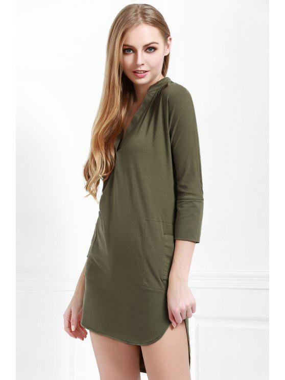 Fancy Pure Color Plunging Neck Long Sleeve Dress Pea Green S