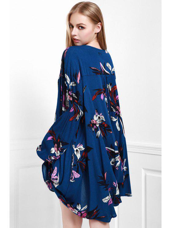 فستان طبع الزهور و الكم الطويل وياقة بثقل المفتاح - ازرق غامق S