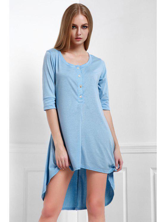 Buttoned Scoop Neck Tee Dress - Bleu M