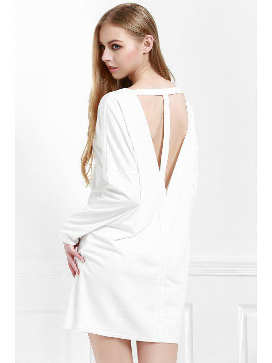 new Cut Out Back Scoop Neck 3/4 Sleeve Dress - WHITE S