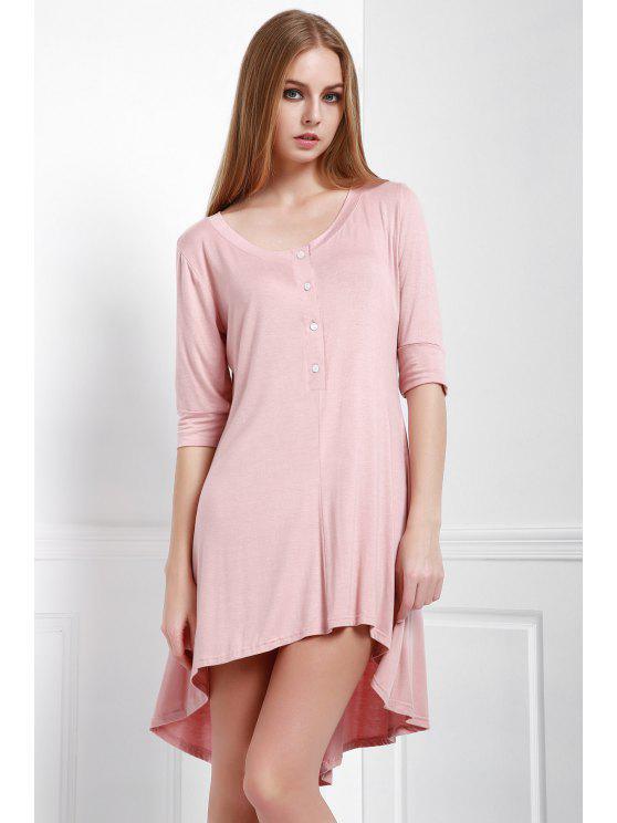hot Buttoned Scoop Neck Tee Dress - DARK AUBURN L