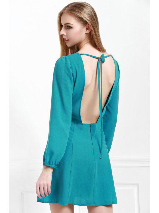 fashion Long Sleeve Open Back Green Dress - BLACKISH GREEN M