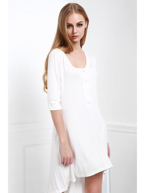 Robe T-shirt Légère à Demi Boutonné - Blanc S