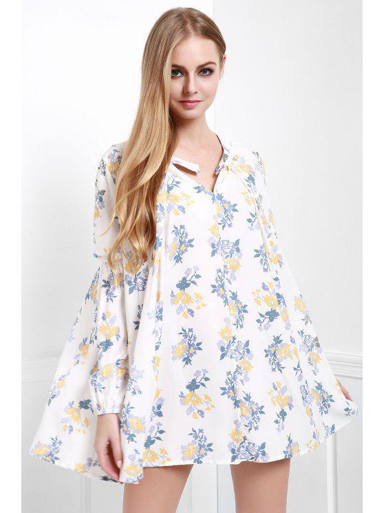 Kittel-A-Linie Kleid mit Blumendruck - Weiß XS