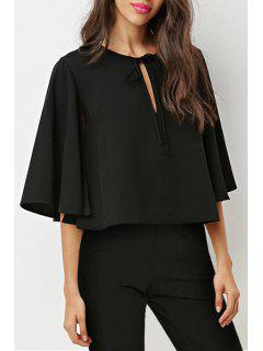 Keyhole Lace Up Round Collar 3/4 Sleeve Cape Blouse - Black M