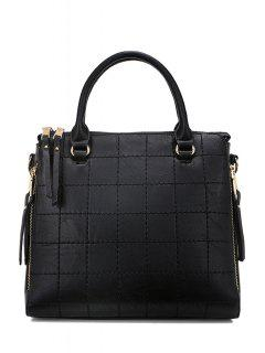 Grid Stitching Solid Color Tote Bag - Black