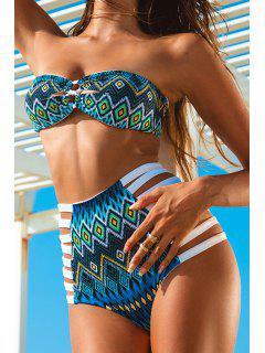 Blue Ethnic Print Strapless Bikini Set - Blue S