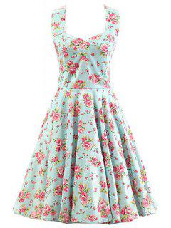 Backless Halter Tiny Floral Print Dress - Light Green 2xl