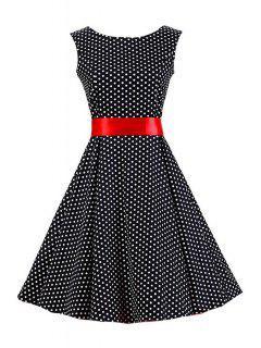 Polka Dot Round Collar Sleeveless Belted Dress - Black 2xl
