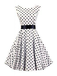 Black Polka Dot Round Collar Sleeveless Dress - White S