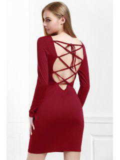 Wine Red Long Sleeves Bodycon Dress - Wine Red M
