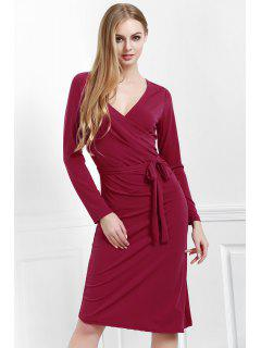 Solid Color V Neck Long Sleeves Dress - Red M