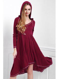 Solid Color Hooded Long Sleeve Dress - Red L