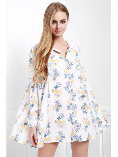 Floral Print Smock A-Line Dress - White Xs