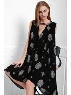 Print Keyhole Swing Dress - Black M