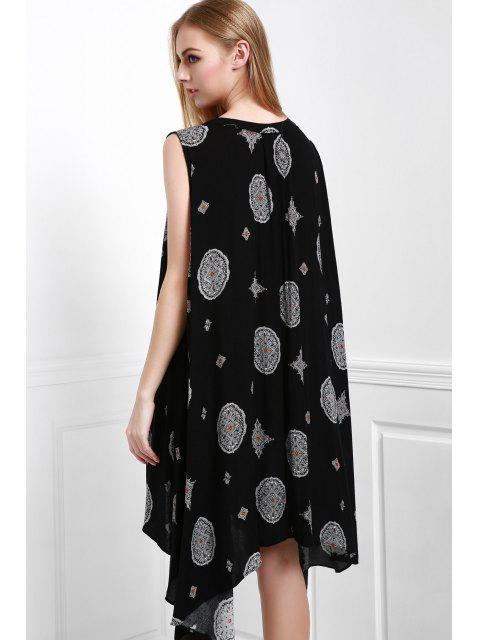 chic Print Keyhole Swing Dress - BLACK M Mobile