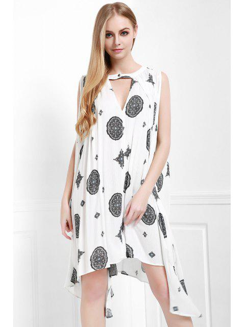 shop Print Keyhole Swing Dress - OFF-WHITE XS Mobile