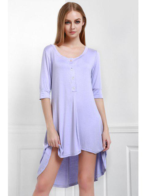 buy Buttoned Scoop Neck Tee Dress - PURPLE S Mobile