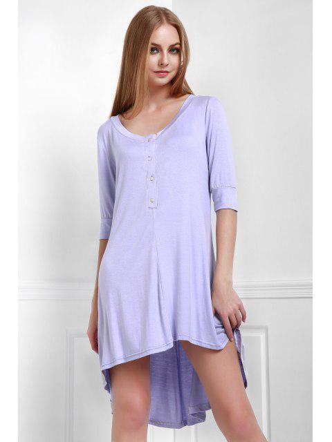 Vestido de Camiseta con Cuello en U con Botones - Púrpura L Mobile