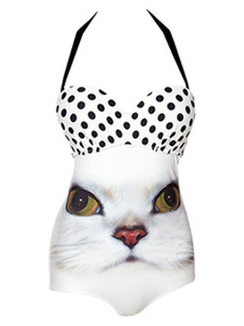 women's Kitten Polka Dot One-Piece Swimwear -   Mobile