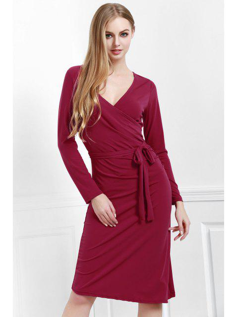 fashion Solid Color V Neck Long Sleeves Dress - RED M Mobile