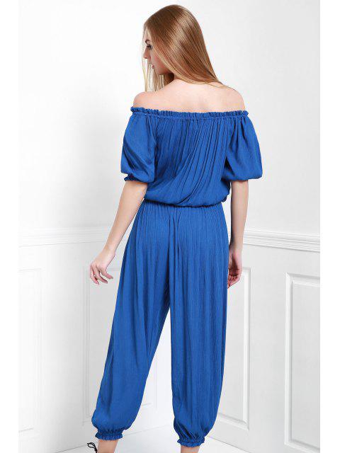 outfit Solid Color Off The Shoulder Jumpsuit - BLUE M Mobile