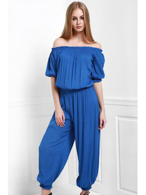 shop Solid Color Off The Shoulder Jumpsuit - BLUE XL Mobile