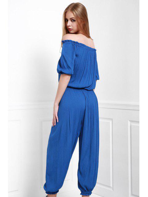 shop Solid Color Off The Shoulder Jumpsuit - BLUE XL Mobile
