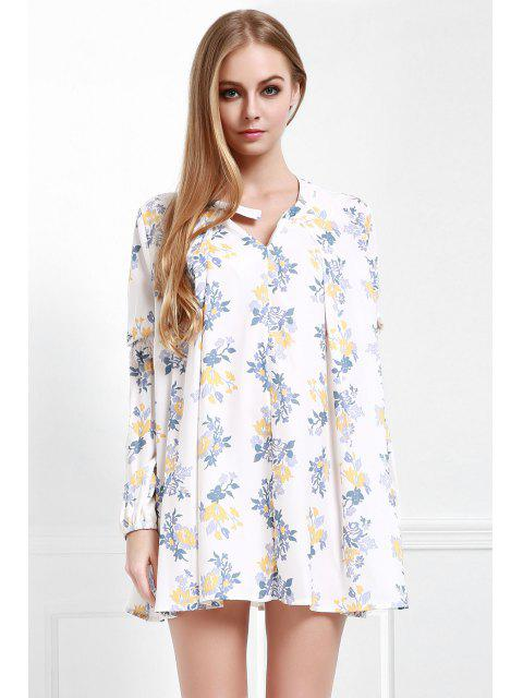 trendy Floral Print Smock A-Line Dress - WHITE XS Mobile