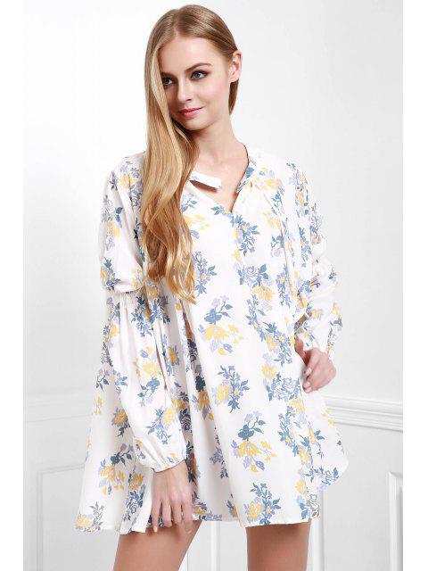 Kittel-A-Linie Kleid mit Blumendruck - Weiß L Mobile