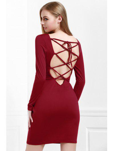 be269e73732 Wine Red Long Sleeves Bodycon Dress - Wine Red M ...