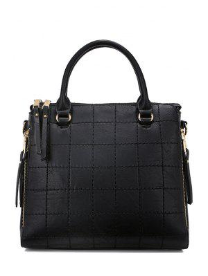 Grid Stitching Solid Color Tote Bag
