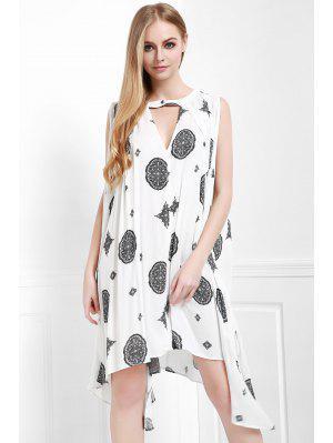 Print Keyhole Swing Dress - Off-white Xs