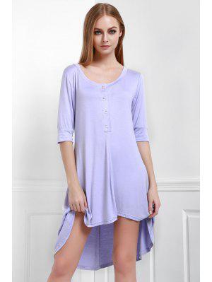 Buttoned Scoop Neck Tee Dress - Purple S