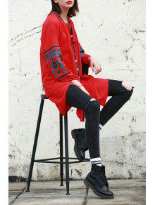 233;tnico Rojo Manga Con Vestido Con L Cuello Bordado Larga En Con V 7z544qZwn