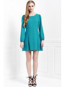new style 96475 b29ad Rückenfreies Damen Grünes Kleid mit Langarm